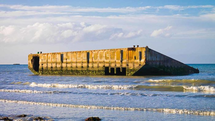 Remains of the artificial Mulberry Harbour at Arromanches, France